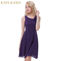 Kate Kasin Short Purple Bridesmaid Dresses Ruffle Sleeveless Wedding Party Formal Dress Knee Length Chiffon Bridesmaid Gown 1080