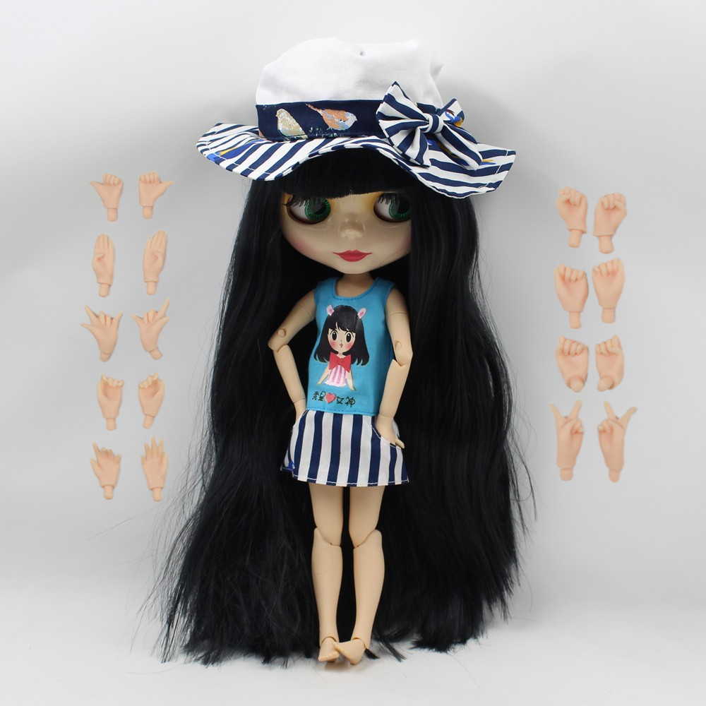 280BL9601 black long hair joint doll factory nude doll with hands bjd 1 6 30cm with