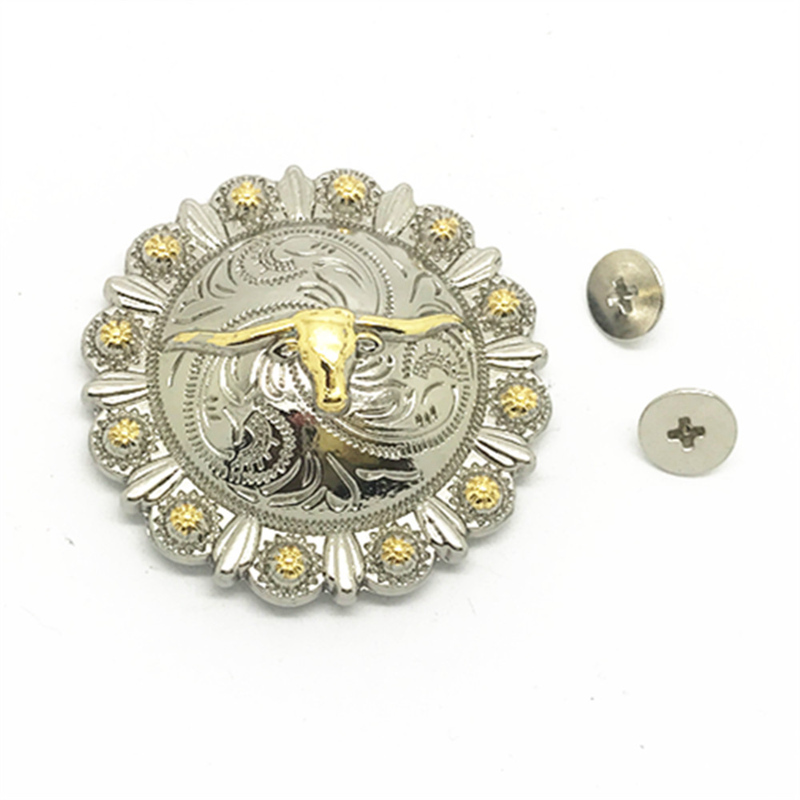 Wholesale Round Gold Cow Head Western White And Golden Cowboy Style Belt Metal Accessories