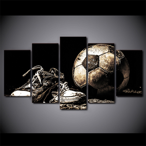 5 pieces canvas paintings football Sports Soccer Shoes wall picture Sports Soccer Shoes home sofa background wall decoration Pakistan