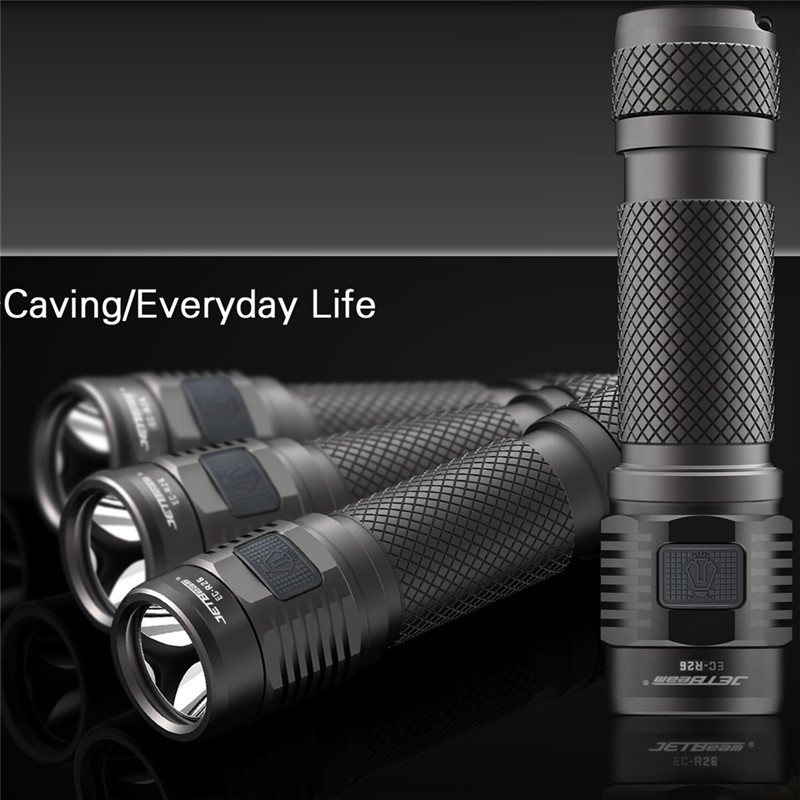 JETbeam Flashlight EC-R26  XP-L 1080Lumens Rechargeable Waterproof LED Recharge Portable Lamp Waterproof Bicycle Light C3 niteye ec a12 aa battery rechargeable led flashlight edc light cree xp l led lamp 380 lumens alloy reflector power indicator