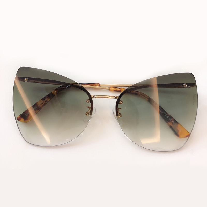 2019 New Luxury Italy Brand Designer Lady Cat Eye Sunglasses Women Vintage Rimless Gradient Sun Glasses