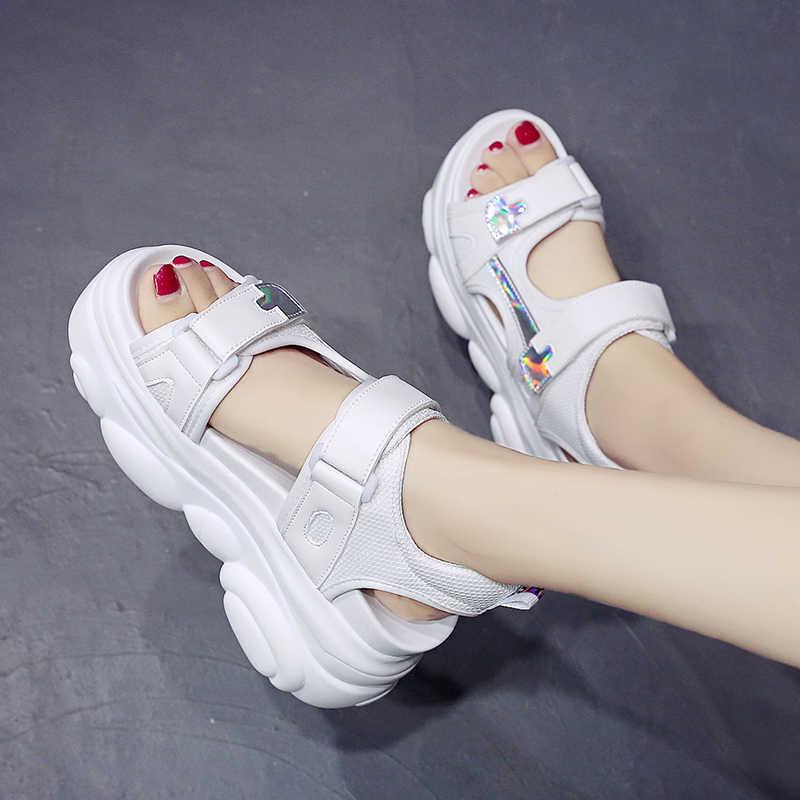 2019 ผู้หญิงฤดูร้อนรองเท้าแตะด้านล่างหนา Wedge Platform รองเท้าแตะสายคล้องข้อเท้าเปิดรองเท้าผู้หญิงสีขาวสีเหลือง