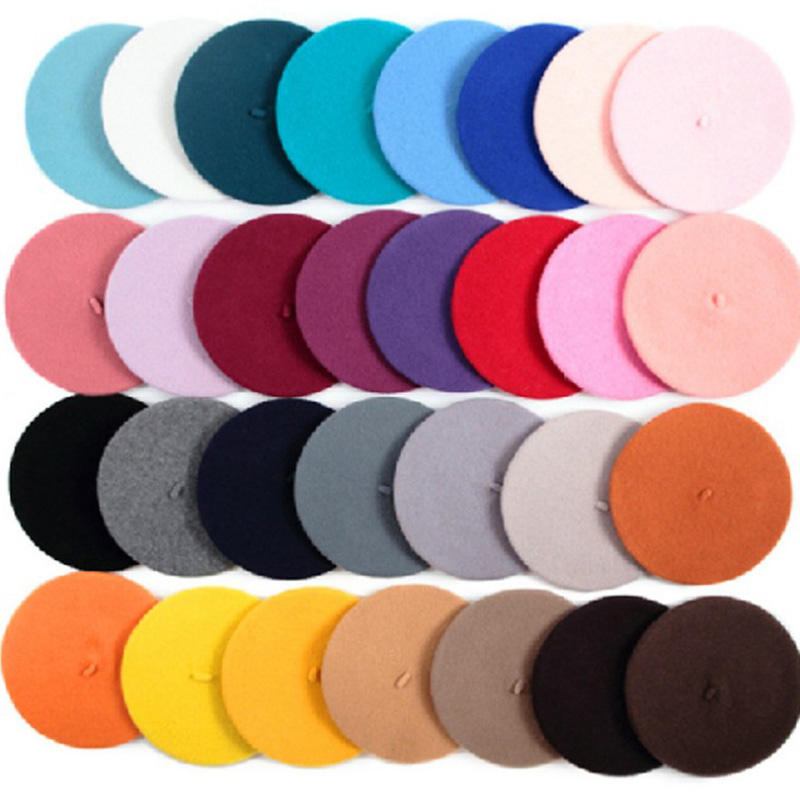 Hot Sell 2018 Cheap Fashion New Women Wool Solid Color Beret Female Bonnet Caps Winter All Matched Warm Walking Hat Cap 20 Color(China)