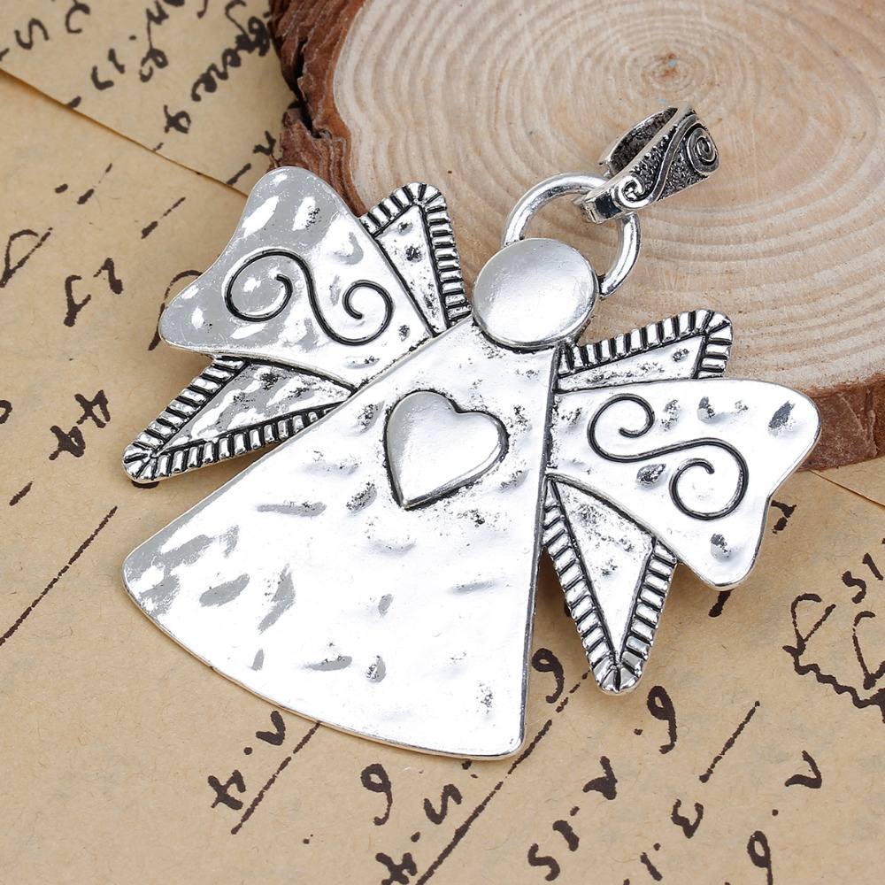 DoreenBeads Zinc Based Alloy Antique Silver Pendants Angel Wing Heart Carved DIY Components 72mm(2 7/8) x 63mm(2 4/8), 2 PCs