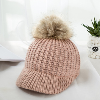 Kylie Knitted Pompom Winter Cap – Pink