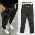 free shipping 2016 autumn  new large size women's trousers check pants 5Increase code large elastic loose straight trousers