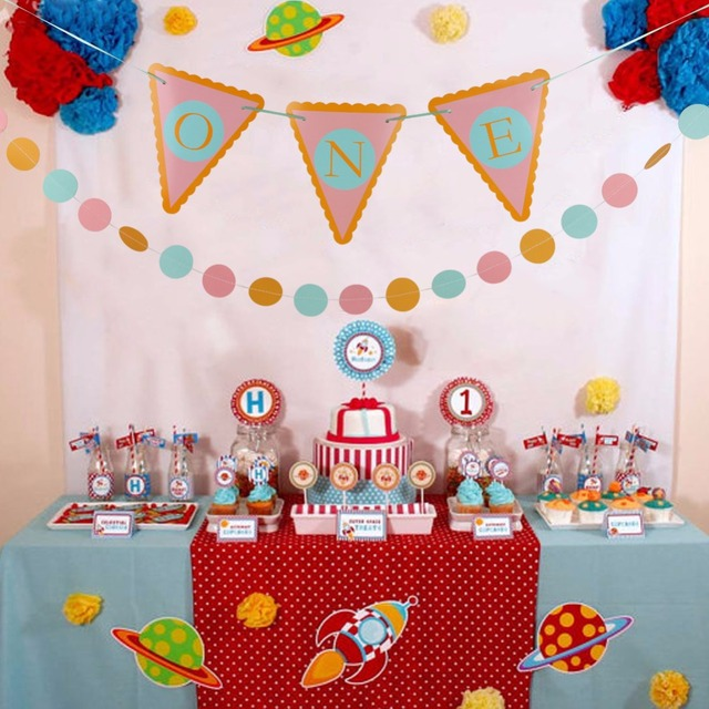 Aliexpress Buy One Year Old Baby Birthday Decoration Banners