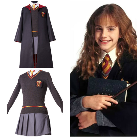 Hermione Granger Cosplay Costume Girls Hermione Necklace Robe Magic Wand Gryffindor Costume Uniform Kids Carnival Xmas Gift