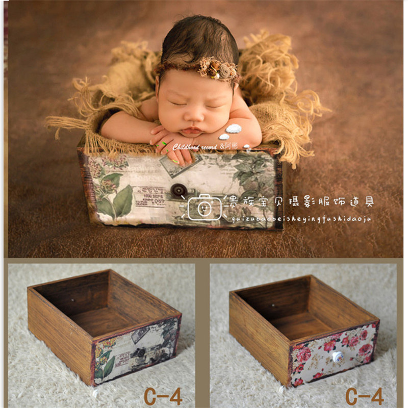 Newborn Photography Props Blanket Wooden Vintage Drawer Frame Baby Photography Props Blanket Girl for Photo Shoot