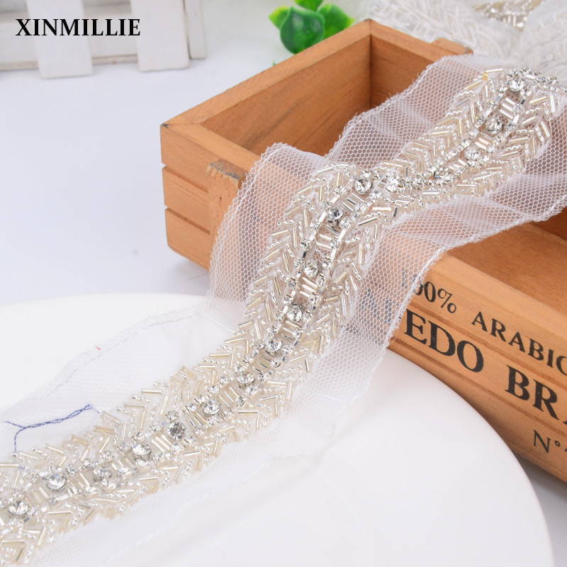 Crystal Rhinestone Chain With Seed Beaded Trims,2yards/Lot,Wedding Decoration Cotton Ribbon Lace Applique Sewing On Trim DIY