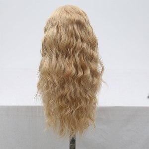Image 5 - Bombshell סינטטי תחרה מול פאה טבעי גל לערבב בלונד עמיד בחום סיבי שיער טבעי קו שיער צד חלק עבור נשים בנות