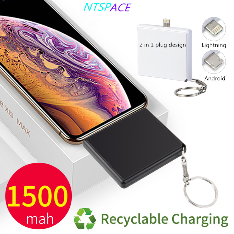 1500mAh Protable Travel Mini Power Bank For <font><b>iPhone</b></font> Xiaomi Huawei OPPO <font><b>Battery</b></font> Charger External 2 in 1 Plug Powerbank Charger image