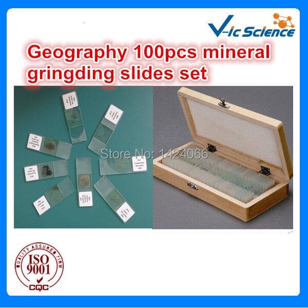 Geography 100pcs mineral gringding slides set free shipping 100pcs mineral prepared slides set