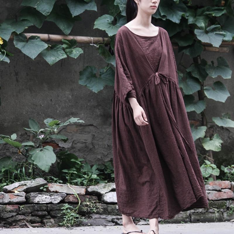Johnature 女性包帯ドレス綿リネンプルオーバーローブ 2019 秋の新 7 スリーブ O プラスの女性ヴィンテージドレス  グループ上の レディース衣服 からの ドレス の中 1