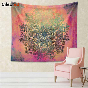 Image 5 - Cilected India Mandala Tapestry Gobelin Hanging Wall Floral Tapestry Fabric Polyester/Cotton Hippie Boho Bedspread Table Cloths