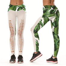 840e3d1d013 2018 Summer Female Sexy Hollow Out Design Slim Push Up Pants Green Leaves Weed  Print 3d