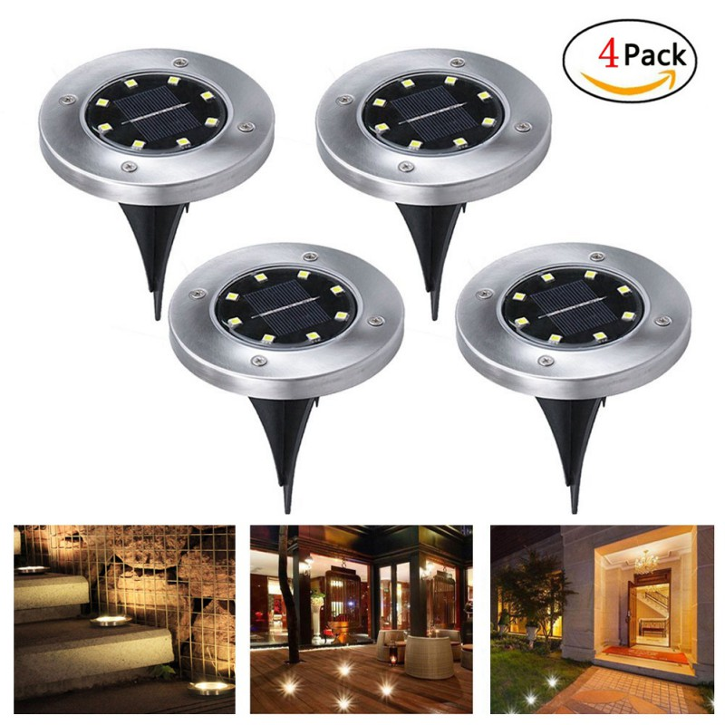 Solar Powered Ground Light Waterproof Garden Pathway Deck Lights With 8 LEDs Lamp for Home Yard Driveway Lawn Road2049
