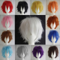 Super Boys Girls New Cool & Sweet Short Hair Wigs Pink Purple Orange Full Wigs Cosplay Party Fancy Dress
