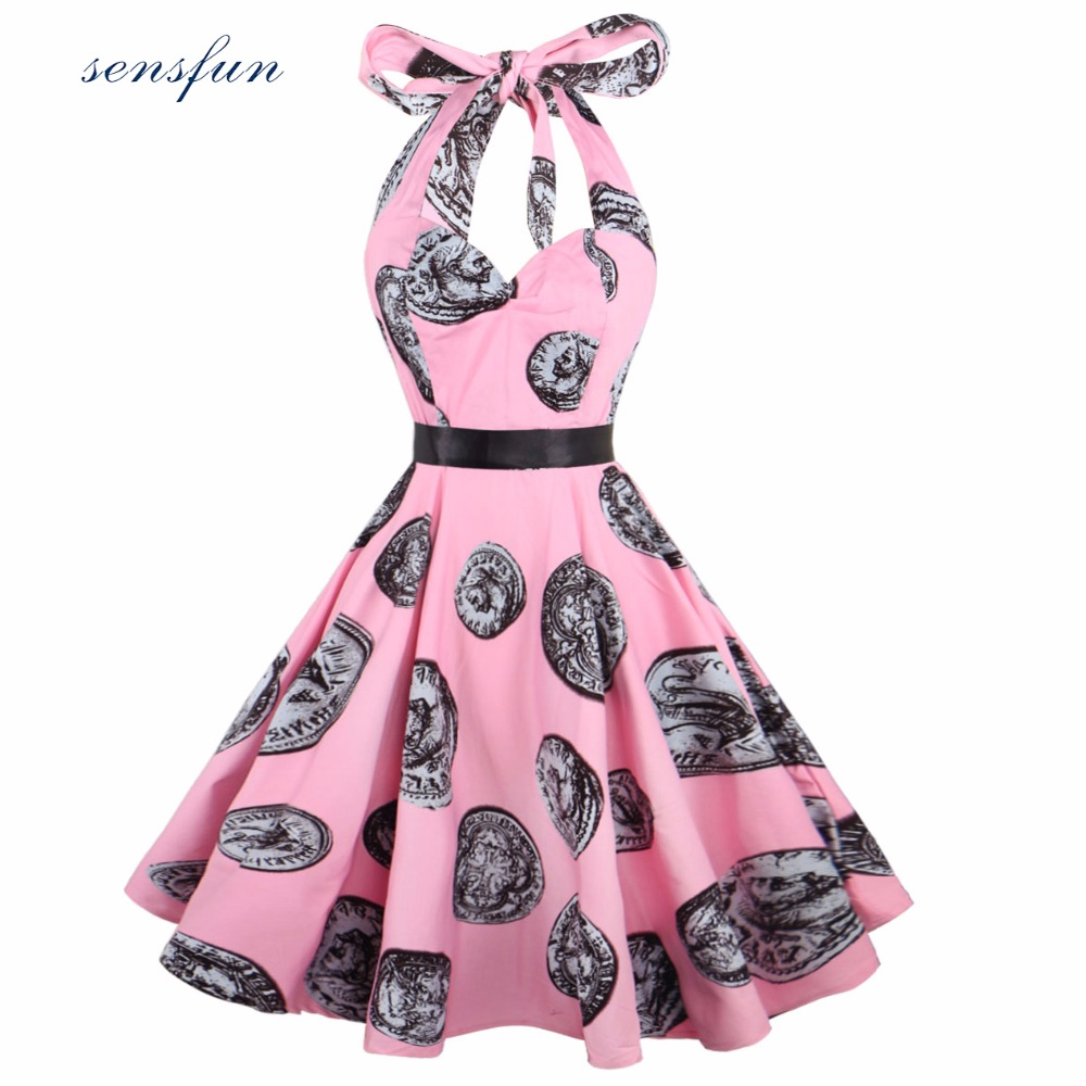 Sensfun Summer Dress 2017 Women Cotton Hepburn Robe Vintage Dress Straps With belt Floral Vestidos Retra Party Dresses Sundress