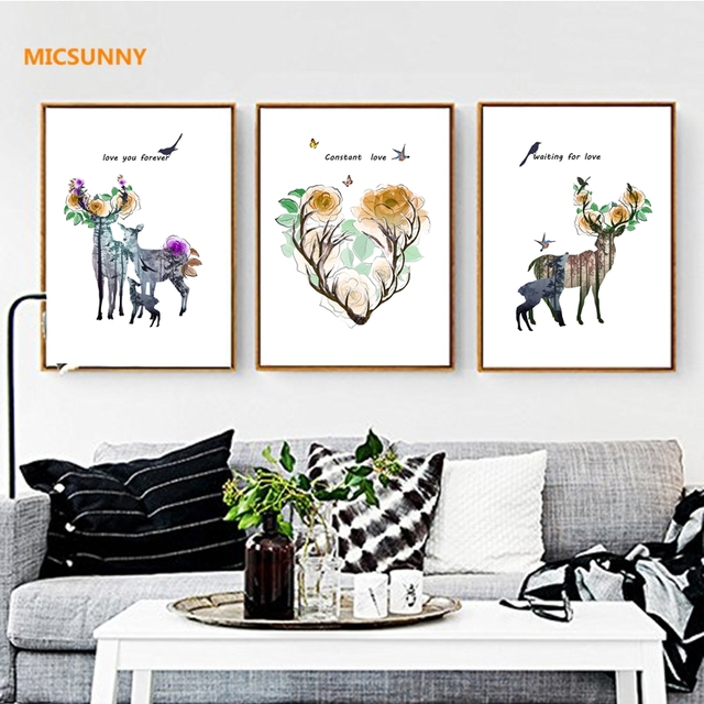 Micsunny modern art nordic colorful deer paintings flowers antler pictures canvas prints wall art painting home