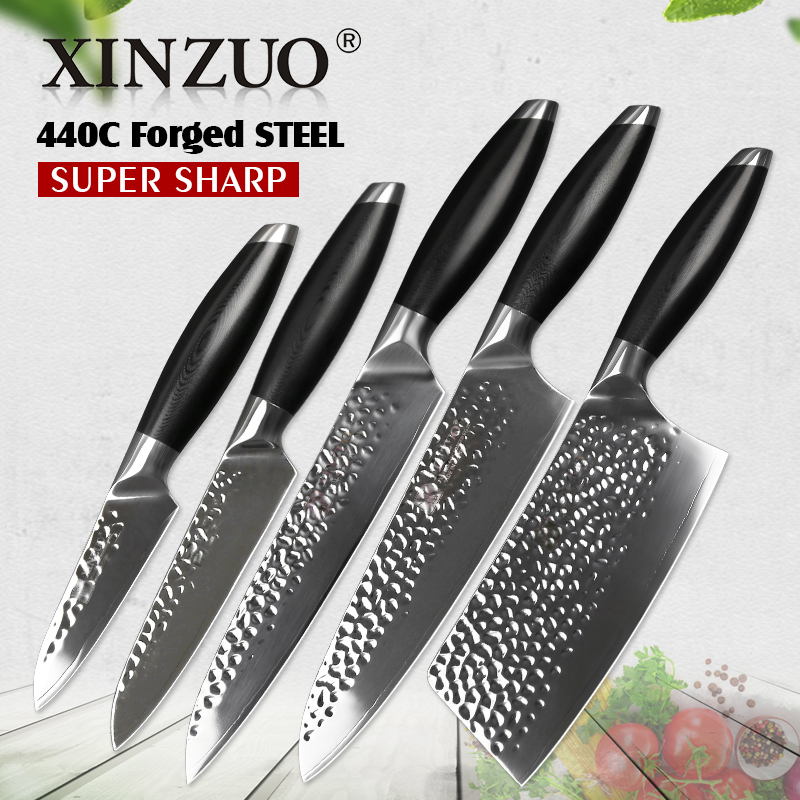 XINZUO 5 Pcs Kitchen Knife Set Stainless Steel Chef Cleaver Slicing Fruit Utility Knife g10 Handle