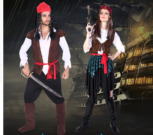 Free shipping cosplay party pirates of the Caribbean clothes 2 styles man women sexy uni ...
