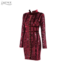 Adyce 2017 Spring New Arrive Luxury Wine Red and Lace Flower Mini Dress Stand Neck Long Sleeve Celebrity Evening Party Dresses