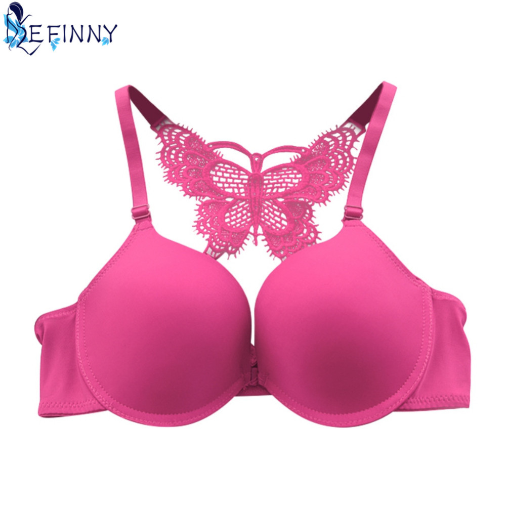 Women front closure y-line straps push up bra underwire fashion back bow intimates adjustable smooth lingerie glossy brassiere