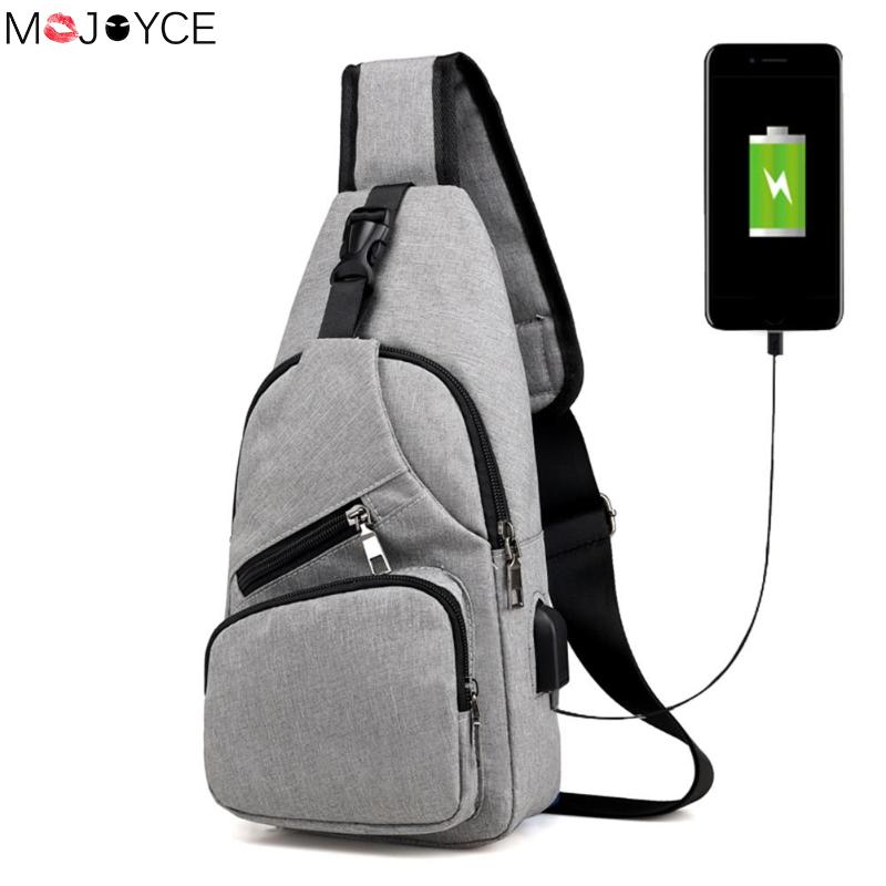 Men Chest Pack Single Shoulder Strap Back Bag Crossbody Canvas USB Charging Sling Shoulder Bag Back Pack Travel Short Trip bag