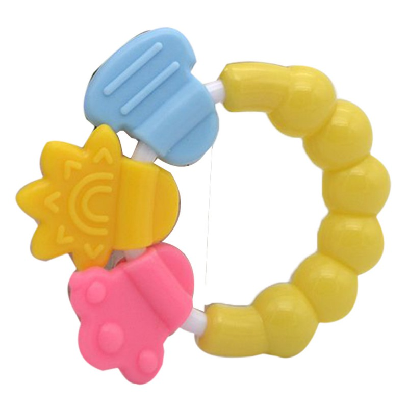 Baby Cartoon Teether Teeth Biting For Babies Rattle Toy For Bed Bell Silicone Handbell Jingle Educational Toys