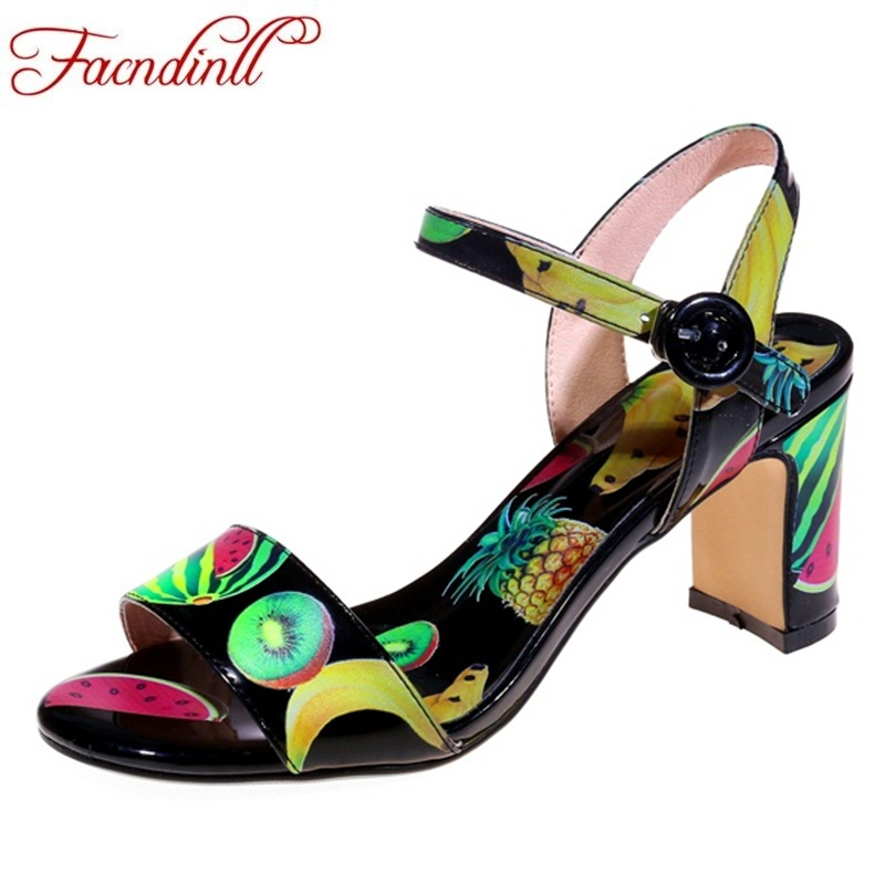 FACNDINLL genuine leather women gladiator sandals fashion sweet printing high heels open toe shoes woman dress party sandals facndinll classics women gladiator sandals shoes new fashion wedges high heels open toe summer shoes woman casual date sandals