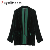 Women Blazer 100 Silk Velvet Solid One Button Blazers Office Lady Style Blusas Femininas 2017 NEW