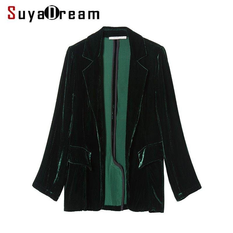 Women Blazer 100%Silk Velvet Solid One Button Blazers Office Lady Style Blusas Femininas 2017 NEW Fall Winter Green