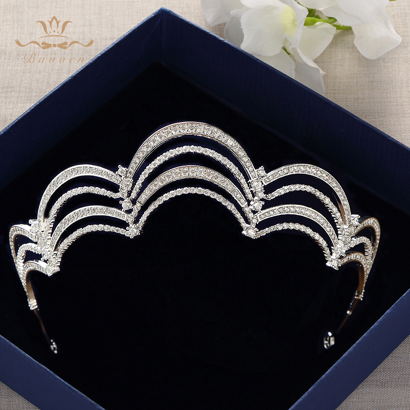 Bavoen Silver Royal Queen Cubic Zircon Wedding Crowns Tiaras Crystal Evening Hairbands Brides Hair Accessories Prom Jewelry цена