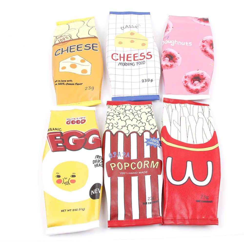 1pcs Snacks Style Kawaii Chips Cheese Popcorm Fast Food PU Pencil Cases Delicious foodbag design pencil bag Funny gift