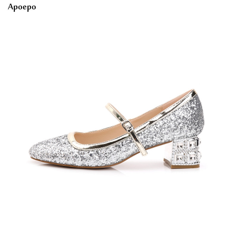 Фотография Apoepo Thick Heels Woman Shoes Round Toe Crystal Embellished Ankle Strap Pumps Bling Glitter High Heel Wedding Shoes