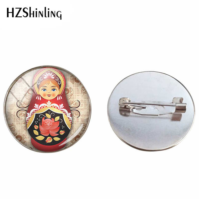 Tradition Russian Doll Glass Cabochon Brooch Matryoshka Handmade Russian Dolls Glass Dome Silver 25mm Jewelry Pins