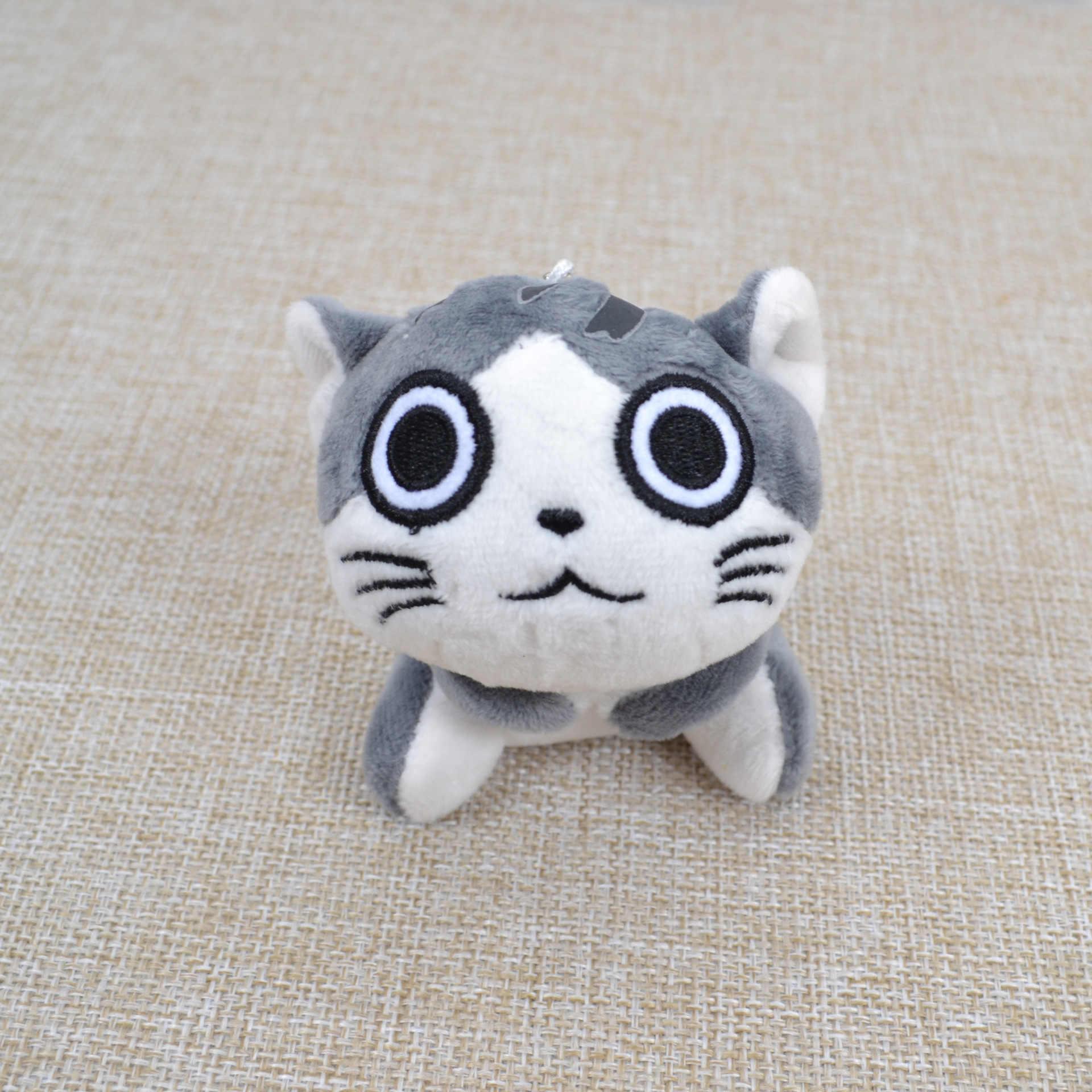 Cinza sentado 9 cm gato pelúcia brinquedos buquê presente macio pelúcia gato boneca gato chaveiro brinquedo de pelúcia flor gato boneca presente kawaii
