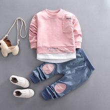 Fall baby boys girls clothing set T-shirt tops pant tracksuits for newborn baby boy girls outfits Pullover overalls clothes sets