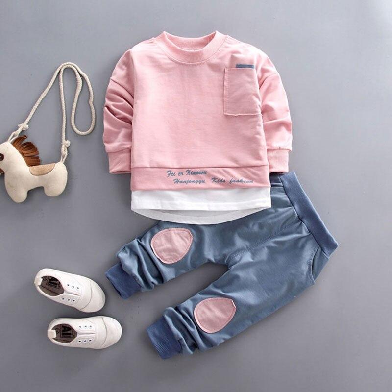 Outono do bebê meninos meninas conjunto de roupas camiseta topos calças de treino para o bebê recém-nascido menino meninas roupas pullover macacão conjuntos