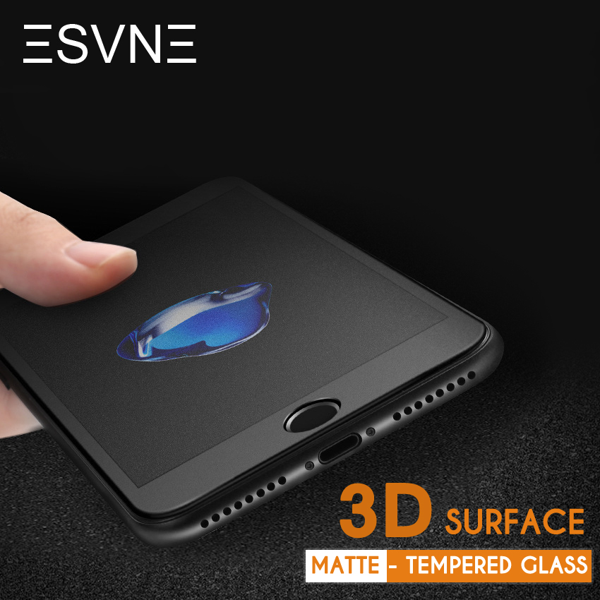 ESVNE 3D buet matt herdet glass for iphone 6 glassfilm 9H hardhet 6s pluss anti-fingeravtrykk iPhone 7 skjermbeskytter