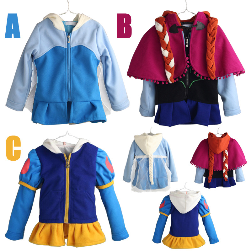 Autumn Girls Coat Long Sleeve Snow Queen Elsa Anne Outwear Coat Cotton baby font b Kids