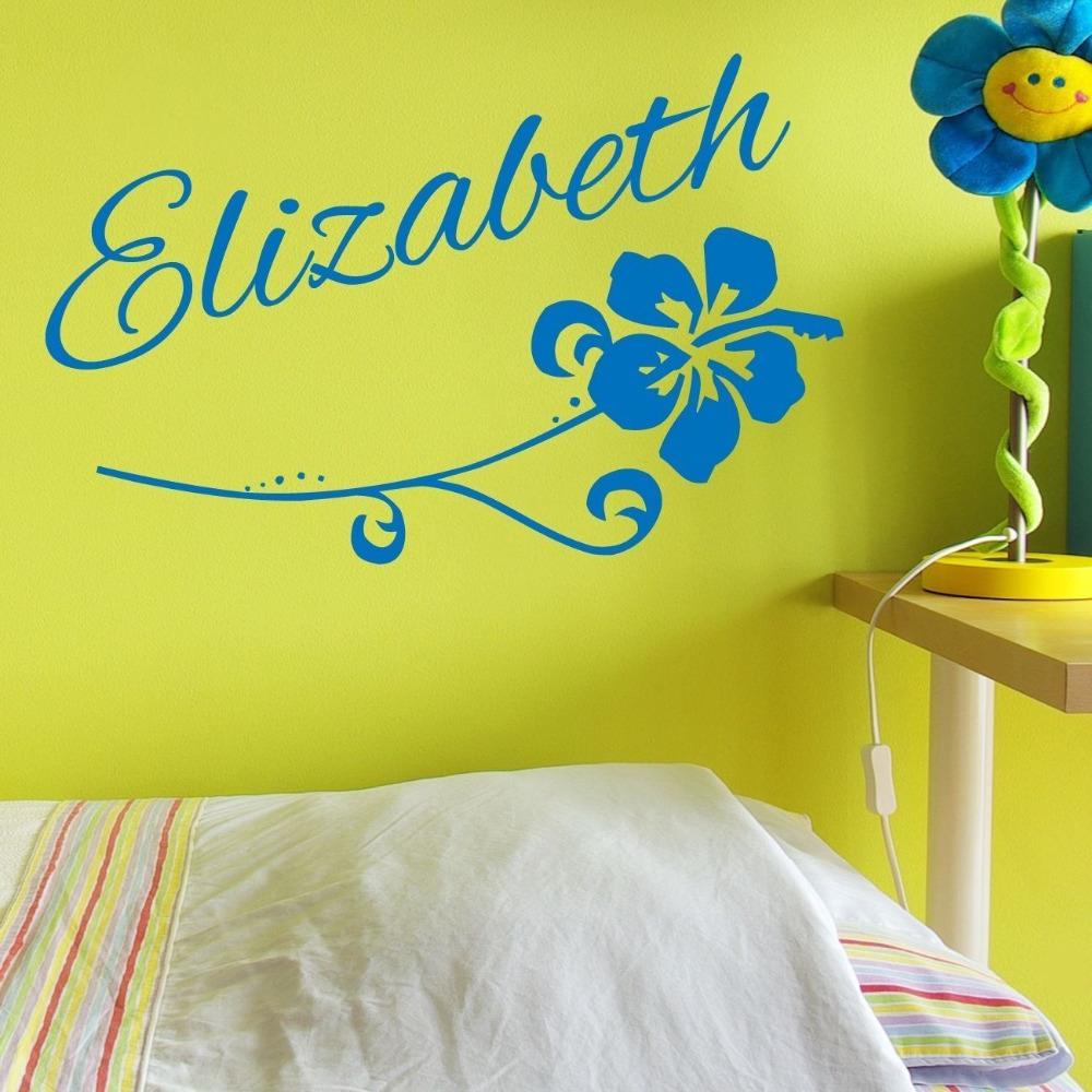 Custom Flower Name Vinyl Wall Decal Decor Girls Sticker Hawaiian ...