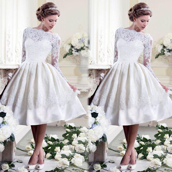 New Design Boat Neck Short Wedding Dresses 2017 Lace Appliqued