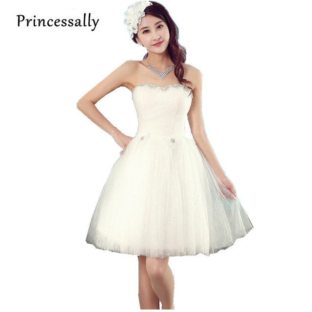 Moda corto lindo vestido de novia blanco sin tirantes del hombro ...