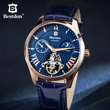 Bestdon Brand Fashion Blue Mechanical Mens Watch Luxury Automatic Skeleton Watches Waterproof Leisure Leather Clocks 2019 New