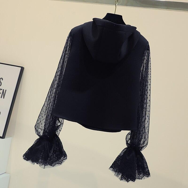 Nouveau chapeau lâche chemise pour les femmes printemps automne Point broderie évider corne manches haut court filles dames sweat étudiants - 3