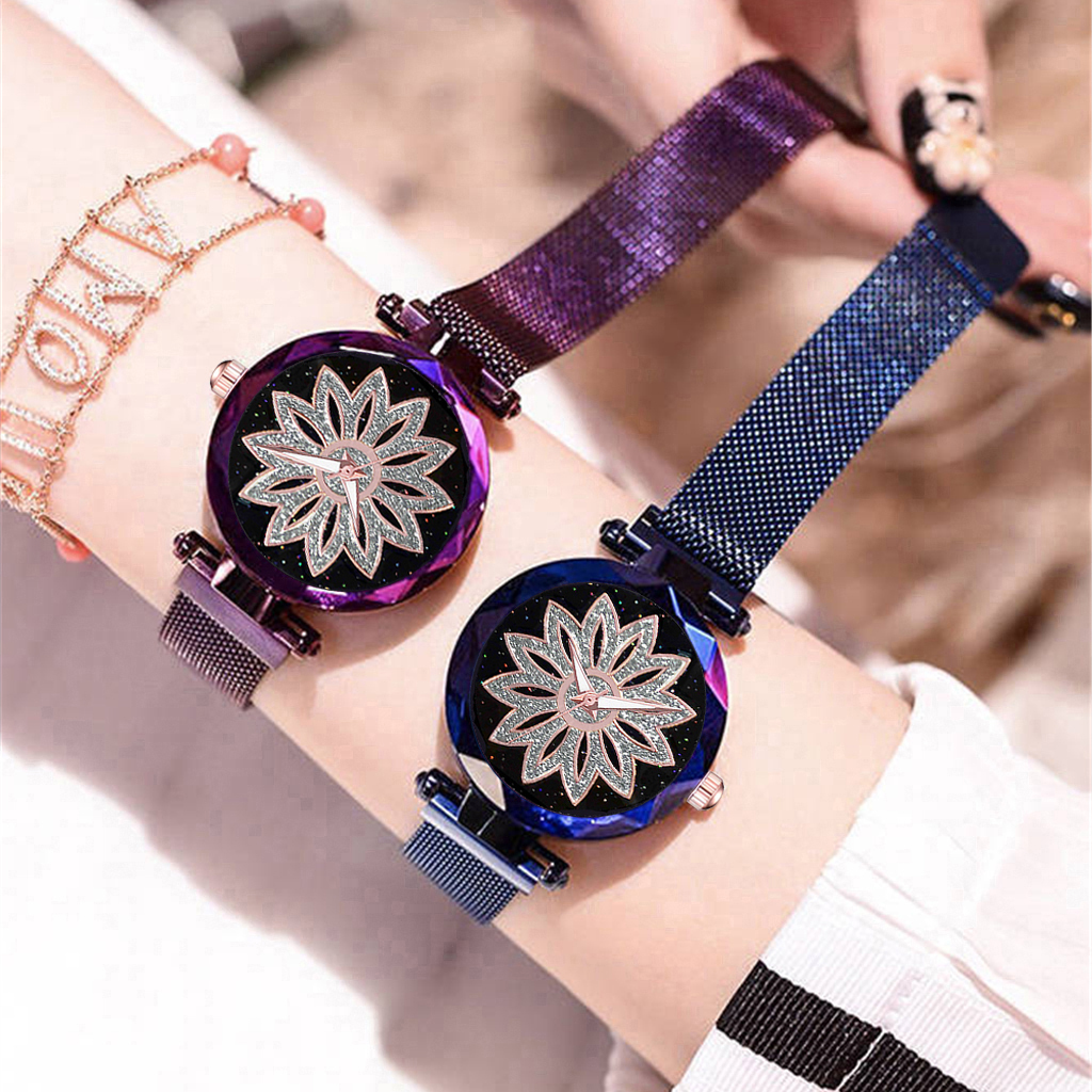 Hot Fashion Women Flower Rhinestone Wrist Watch Ladies Luxury Casual Rose Gold Steel Quartz Watch Relogio Feminino Magnet Clock