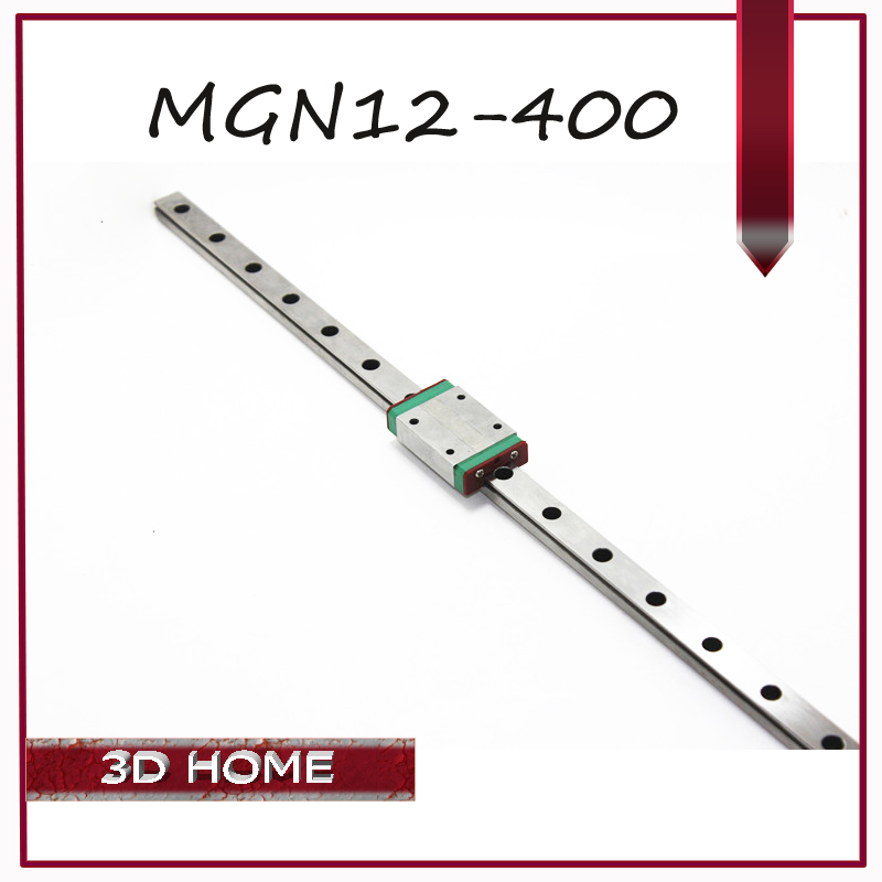 3PCS Kossel for 12mm Linear Guide MGN12 L 400mm linear rail MGN12H Long linear carriage for